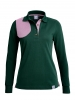 Jagd POLO mit Schiesspatch, british green - pink (LA)